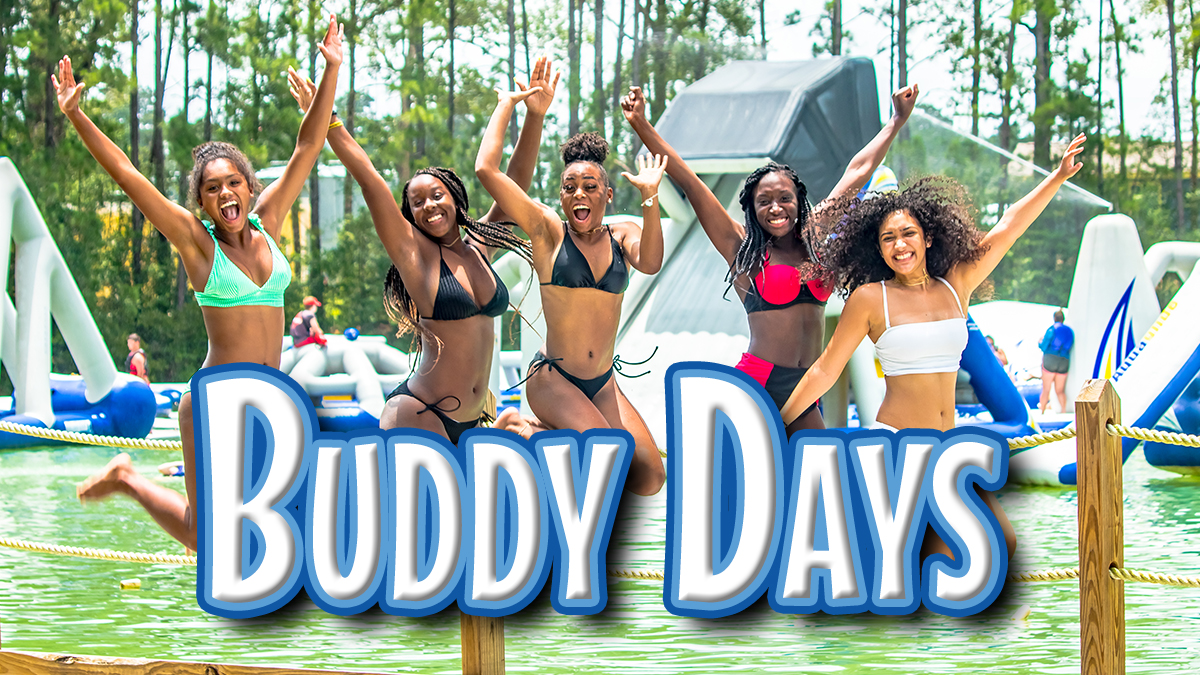 Buddy Days are bring-a-friend free days for Big Rivers Season Pass holders. Get your season pass today and bring your friends for free!